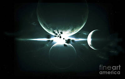 Artists Concept Of A Planet And Its 3 Art Print by Kevin Lafin