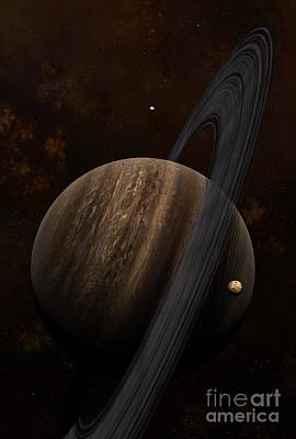 Circling Digital Art - Artists Concept Of A Ringed Gas Giant by Frieso Hoevelkamp