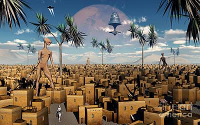Artists Concept Of Aliens Visiting Art Print by Mark Stevenson