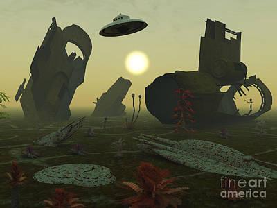 Artists Concept Of An Alien Scrap Yard Art Print by Mark Stevenson