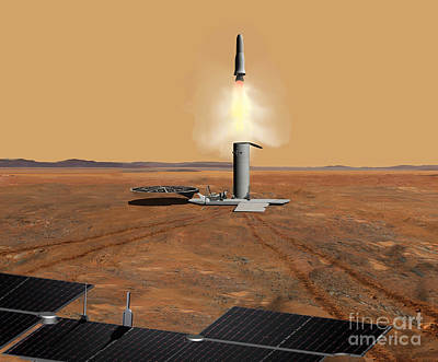 Artists Concept Of An Ascent Vehicle Art Print by Stocktrek Images