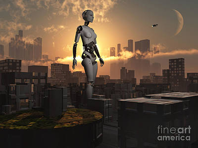 Visiting Digital Art - Artists Concept Of Androids Governing by Mark Stevenson
