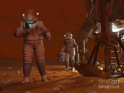Eva Digital Art - Artists Concept Of Astronauts Exploring by Walter Myers