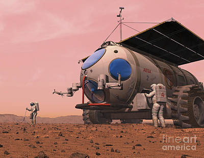 Science Fiction Royalty-Free and Rights-Managed Images - Artists Concept Of How A Martian by Walter Myers