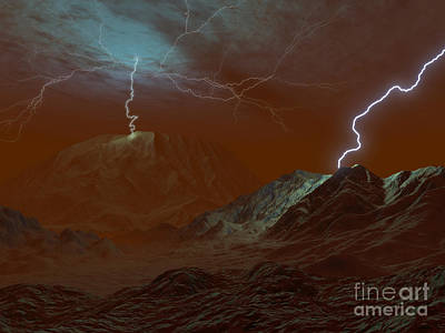 Artists Concept Of Lightning In Venus Art Print by Walter Myers
