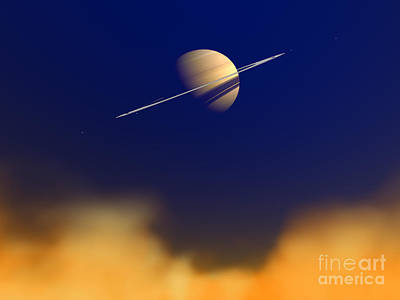 Artists Concept Of Saturn Amongst Art Print by Walter Myers