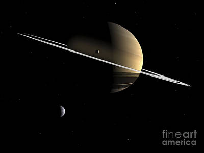 Rendition Digital Art - Artists Concept Of Saturn And Its Moons by Walter Myers
