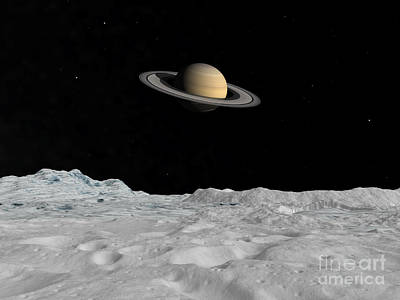 Jovian Digital Art - Artists Concept Of Saturn As Seen by Walter Myers