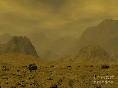 Artists Concept Of The Surface Of Venus Art Print by Walter Myers