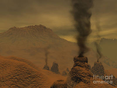 Spire Digital Art - Artists Concept Of Volcanic Activity by Walter Myers