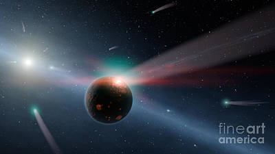 Digital Art - Artists Conception Of A Storm Of Comets by Stocktrek Images