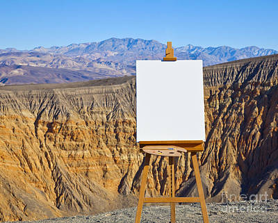Artists Easel And Canvas In Desert Art Print