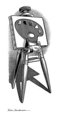 Artist's Easel, Artwork Art Print by Bill Sanderson