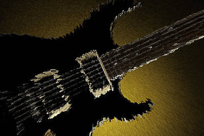 Photograph - Artsy Guitar Gold Background by M K Miller