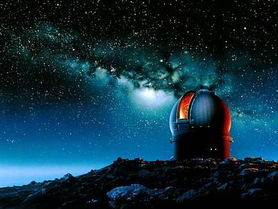 Artwork Based On Mauna Kea Of A Telescope Dome Art Print by Detlev Van Ravenswaay