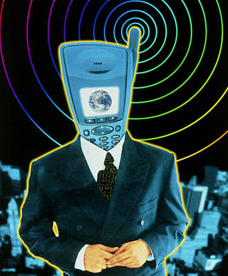 Artwork Of A Businessman With A Mobile Phone Head Art Print