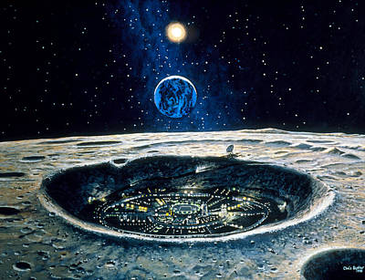 Artwork Of A City In A Crater On The Moon Art Print by Chris Butler