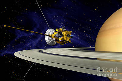 Photograph - Artwork Of Cassini During Soi Maneuver by Nasa