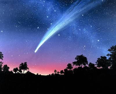 Comet Hale-bopp Photograph - Artwork Of Comet Hale-bopp Over A Tree Landscape by Chris Butler