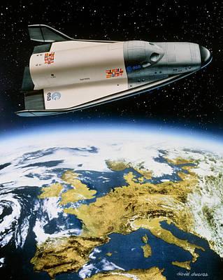 Hermes Wall Art - Photograph - Artwork Of Hermes Space Shuttle Orbiting Europe by David Ducros
