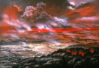 Venus Surface Photograph - Artwork Of Lava Flows On The Surface Of Venus by Ludek Pesek