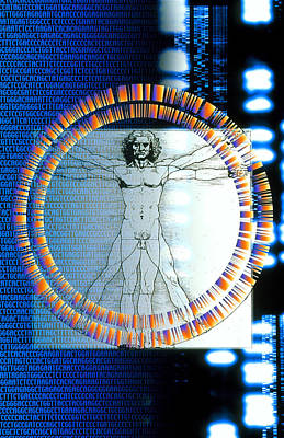 Artwork Of Male Figure With Genetic Sequences Art Print