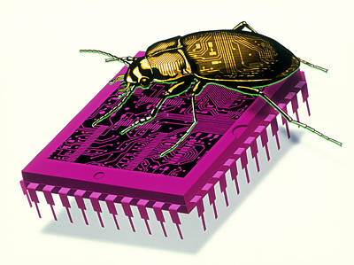Artwork Of Millennium Bug With Beetle On Microchip Art Print by Victor Habbick Visions