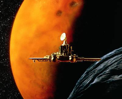 Artwork Of Phobos Spacecraft Nearing Phobos Art Print