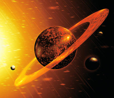 Artwork Of Red Dwarf Star With Flares Over Planet Art Print