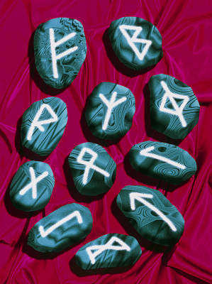 Artwork Of Rune Stones Used For Fortune Telling Art Print by Victor Habbick Visions