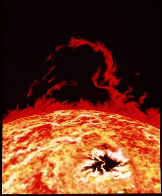 Solar Prominence Photograph - Artwork Of Solar Prominence And Sun Spot by Julian Baum