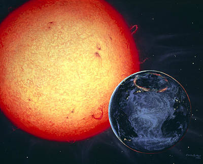 Whole Sun Photograph - Artwork Of Sun And Earth With Aurora by Chris Butler