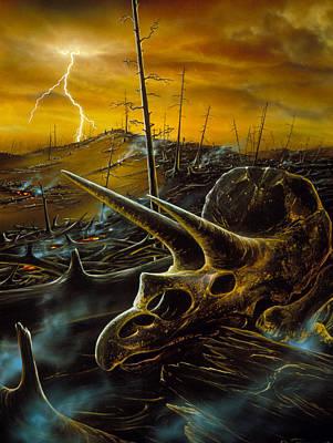 Meteorite Art Photograph - Artwork Of The Death Of The Dinosaurs by D. Van Ravenswaay