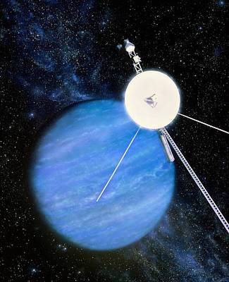Artwork Of Voyager 2 Approaching Neptune Art Print by Julian Baum