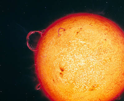 Whole Sun Photograph - Artwork Of Whole Sun With Prominences & Sunspots by Chris Butler