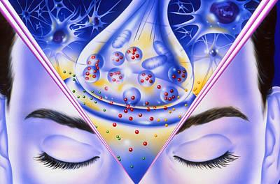 Artwork Showing Sleeping Drug Action With Face Art Print by John Bavosi