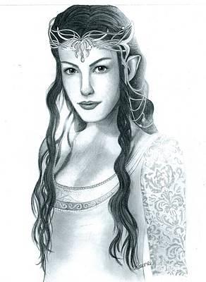 Liv Tyler Drawing - Arwen Undomiel by Crystal Rosene