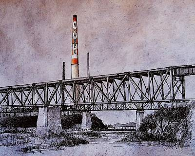 Pen And Ink Drawing Drawing - Asarco In Pen And Ink by Candy Mayer