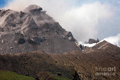 Ash And Gas Rising From Lava Dome Art Print by Richard Roscoe