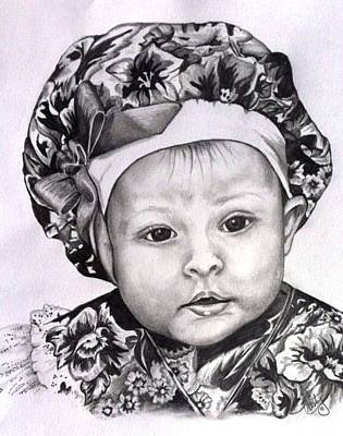 Portrait Of A Baby Drawing - Ashley by Cristy Crites