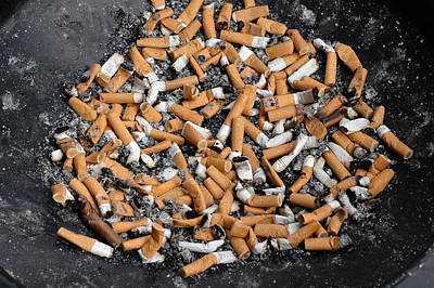 Photograph - Ashtray Full Of Cigarette Stubs by Matthias Hauser