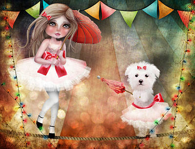 Maltese Puppy Wall Art - Digital Art - Asia And Snow At The Circus by Jessica Von Braun