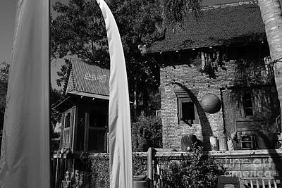 Photograph - Asia Theming And Flags At Animal Kingdom Walt Disney World Prints Black And White by Shawn O'Brien
