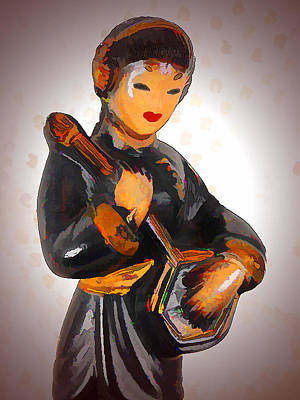Asian Beauty Minstrel Art Print by Kathy Clark