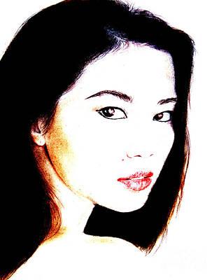 Asian Model  Art Print by Jim Fitzpatrick