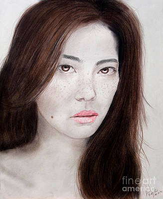 Drawing - Asian Model With Freckles by Jim Fitzpatrick