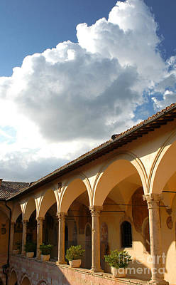 Coy Fish Michael Creese Paintings - Assisi arches and sky by Mike Nellums