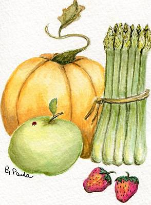 Asparagus And Friends Art Print by Paula Greenlee