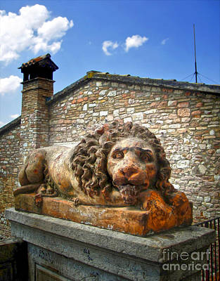 Assisi Italy - Lion Statue Art Print by Gregory Dyer