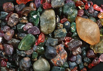 Alluvium Photograph - Assorted Grains Of Unworked Corundum by Dirk Wiersma